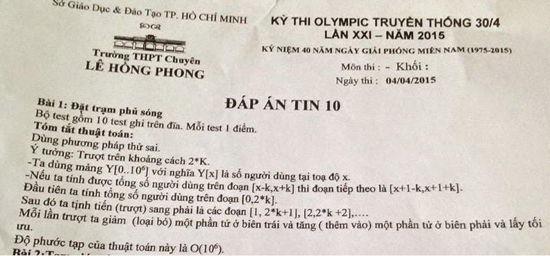 lời giải của Ban tổ chức Olympic 30/4 môn tin học