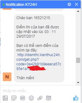 Thông báo nhận được trên messenger khi điểm thi cập nhật