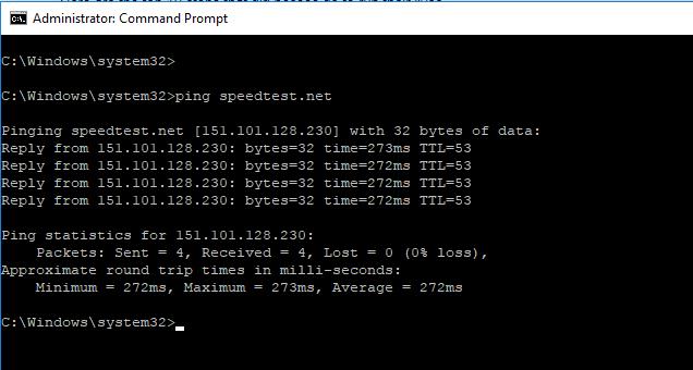 Ping speedtest.net để kiểm tra lỗi không vào được trên VPN PPTP