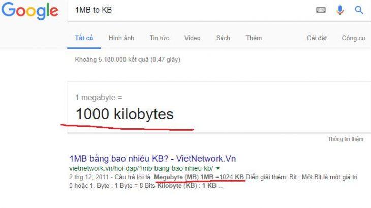 1 MB bằng 1000KB hay 1024 KB? Đổi đơn vị dữ liệu như thế nào?