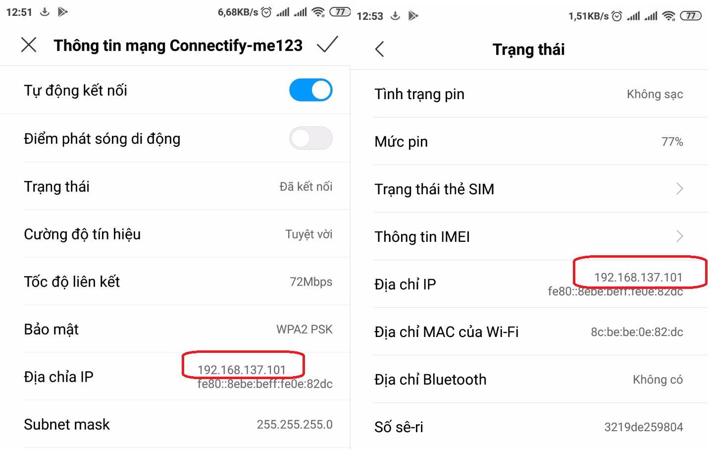 Kiểm tra địa chỉ IP của thiết bị android
